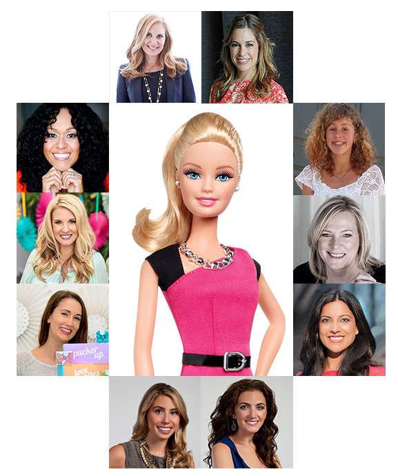 Entrepreneur Barbie surrounded by her social network made up of real women in the business world.