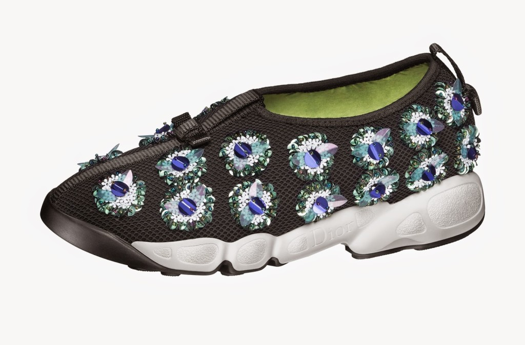 These Fusion Sneakers feature colorful gem stones with black, white, and neon colors on the shoe's exterior and interior.